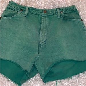 Wrangler Green Denim Shorts